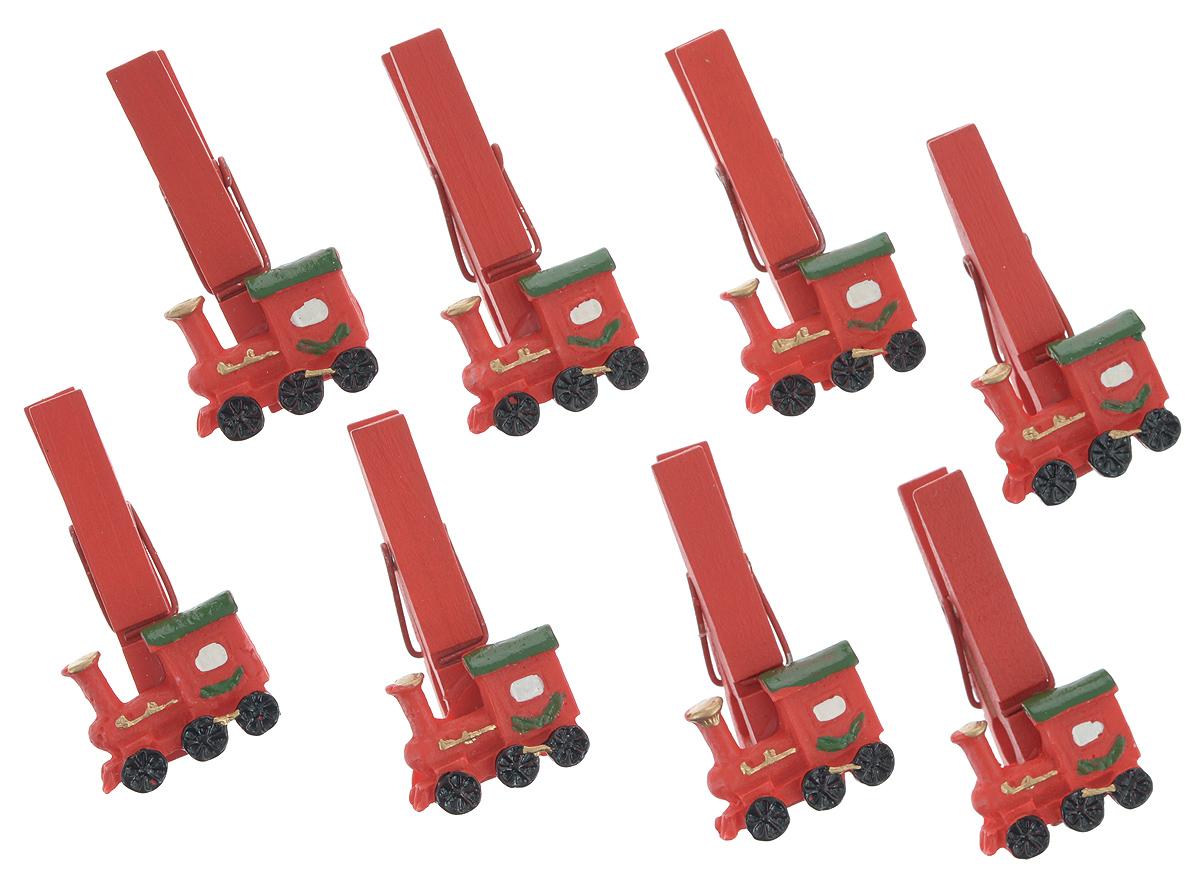 Набор декоративных прищепок Феникс-Презент Поезда, 8 шт34362Набор Феникс-Презент Поезда состоит из 8 декоративных прищепок, выполненных из дерева. Прищепки оформлены декоративными фигурками из полирезины в виде красных паровозиков. Изделия используются для развешивания стикеров на веревке, маленьких игрушек, а оригинальность и веселые цвета прищепок будут радовать глаз и поднимут настроение.Размер прищепки: 4,5 см х 1,5 см х 2 см.