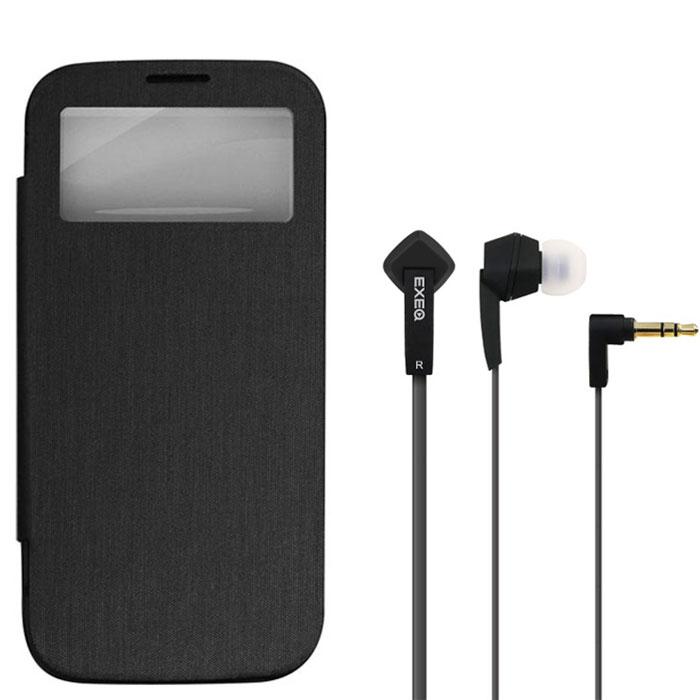 EXEQ HelpinG-SF08 чехол-аккумулятор для Samsung Galaxy S4, Black (2600 мАч, Smart cover, флип-кейс)HelpinG-SF08 BLExeq HelpinG-SF08 - идеальный аксессуар для самых активных пользователей Samsung Galaxy S4. Устройство представляет собой удачное сочетание надежного защитного чехла и дополнительного источника подзарядки батареи смартфона. Специальная конструкция Exeq HelpinG-SF08 обеспечит надежную защиту смартфона от различных внешних воздействий даже при самом активном его использовании. При этом надежная защита обеспечена также дисплею благодаря специальной крышке Smart-cover. Exeq HelpinG-SF08 оснащен встроенным аккумулятором емкостью в 2600 мАч – такой емкости вполне хватит на одну полную подзарядку батареи смартфона. Т.е. с чехлом-аккумулятором Exeq HelpinG-SF08 смартфон сможет проработать в два раза дольше!Компактные размеры и обтекаемая форма Exeq HelpinG-SF08 идеально повторяют форму Samsung Galaxy S4 и при этом не сильно увеличивают его вес и габариты. Металлическая выдвижная подставка позволит не только удобно расположить телефон во время просмотра видео, но и придаст внешнему виду устройства элегантность и утонченность.Заряжается Exeq HelpinG-SF08 от зарядного устройства телефона, причем заряжать оба устройства можно не извлекая телефон из чехла. Так для зарядки чехла-аккумулятора просто подсоедините зарядное устройство к чехлу, а для зарядки телефона, подсоедините зарядное устройство и нажмите кнопку питания на чехле.В комплект также входят высококачественные наушники Exeq HPC-002 с плоским кабелем с защитой от спутывания. Для блокировки нежелательных шумов в комплекте с наушниками поставляются мягкие силиконовые амбушюры 3-х размеров, которые удобно помещаются в ушах и не оказывают давления на ушную раковину. Прочный L-образный штекер с позолоченным коннектором 3,5 мм позволит комфортно подключить Exeq HPC-002 ко многим портативным устройствам.Технические характеристики Exeq HPC-002:Частотный диапазон: 19-20000 ГцДинамики: 10 ммЧувствительность: 105 дБИмп