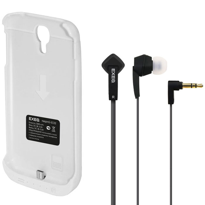 EXEQ HelpinG-SC01 чехол-аккумулятор для Samsung Galaxy S3 mini, White (1900 мАч, клип-кейс)HelpinG-SC01 WHExeq HelpinG-SС01 – компактный чехол-аккумулятор для Samsung Galaxy S3 Mini. Дополнительный аккумулятор емкостью в 1900 мАч позволит повысить работоспособность вашего смартфона как минимум вдвое. Защитный чехол Exeq HelpinG-SС01 обеспечит надежную защиту смартфона от царапин, острых предметов и прочих внешних воздействий. Компактные размеры чехла и лаконичный дизайн позволят не только удобно и быстро поместить смартфон в чехол, но и совсем незначительно увеличат размеры и вес самого смартфона. Exeq HelpinG-SС01 станет просто великолепным аксессуаром для активных пользователей Samsung Galaxy S3 Mini, а также для тех, кто много времени проводит в дороге или собирается на отдых.Зарядка чехла-аккумулятора происходит от зарядного устройства телефона, при этом аппарат из чехла доставать не нужно. Достаточно просто подсоединить зарядное к чехлу и зарядка начнется автоматически. Для зарядки телефона необходимо подсоединить зарядное устройство к чехлу и нажать на кнопку питания на чехле. Аналогично происходит и подключение телефона к компьютеру – чехол-аккумулятор Exeq HelpinG-SС01 обеспечивает идеальную передачу данных между смартфоном и другими электронными устройствами.В комплект также входят высококачественные наушники Exeq HPC-002 с плоским кабелем с защитой от спутывания. Для блокировки нежелательных шумов в комплекте с наушниками поставляются мягкие силиконовые амбушюры 3-х размеров, которые удобно помещаются в ушах и не оказывают давления на ушную раковину. Прочный L-образный штекер с позолоченным коннектором 3,5 мм позволит комфортно подключить Exeq HPC-002 ко многим портативным устройствам.Технические характеристики Exeq HPC-002:Частотный диапазон: 19-20000 ГцДинамики: 10 ммЧувствительность: 105 дБИмпеданс: 16 ОмДлина кабеля: 1,3 м