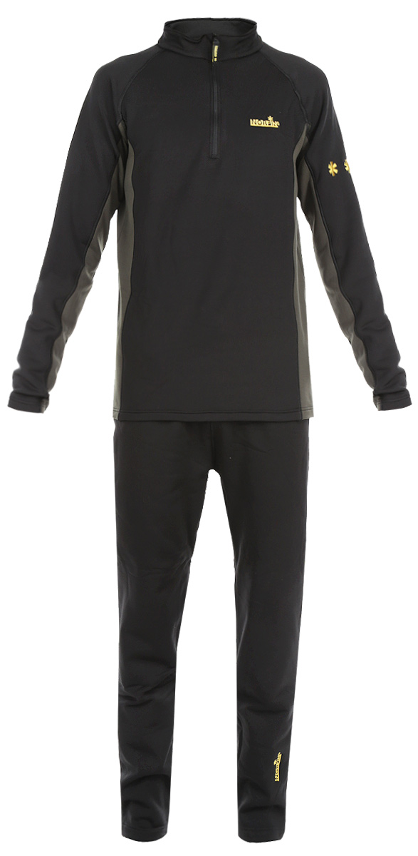 Комплект термобелья мужской Norfin Creeck: кофта, брюки, цвет: черный, серо-зеленый. 3031002. Размер XXL (60/62)303100Эластичный материал термобелья, изготовлен из материала Norfleece Stretch, который хорошо прилегает к телу и не ограничивает свободу движений. Особенная характеристика - эластичная ткань, растягиваемая в 4-х направлениях, разработанная для максимального комфорта. У волокна специально разработанная, двухслойная структура. Стороны ткани имеют различные поверхности. Внутренняя поверхность, нежная и бархатистая, быстро отводит влагу от кожи, мгновенно оставляя тело сухим и контролируя температуру между одеждой и вашим телом. Прочный верхний слой обеспечивает быстрое высыхание. Термобелье используется как первый слой одежды, оно надевается на голое тело или на тонкое термобелье. Горловина с воротником-стойкой оснащена надежной застежкой молнией с защитой подбородка. Манжеты кофты имеют отверстия для большого пальца. Брюки дополнены эластичной резинкой на поясе. Комплект оформлен логотипами бренда. Комплект термобелья Norfin идеально подойдет для прогулок и занятий спортом в холодные дни!