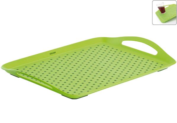 Поднос Nadoba Jaska, 45 х 32 см718110Поднос сервировочный Nadoba Jaska изготовлен из высококачественного, легкого, но очень прочного пластика. Специальные резиновые вставки обеспечивают противоскользящие свойства поверхности подноса и препятствуют соскальзыванию с него предметов. Изделие имеет удобные ручки. Можно мыть в посудомоечной машине.