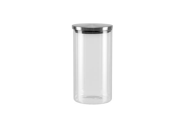 Емкость для хранения Nadoba Silvana, 1 л741411Емкость Nadoba Silvana изготовлена из высокопрочного боросиликатного стекла. Герметичная крышка выполнена из нержавеющей стали с силиконовым уплотнителем. Благодаря такой крышке продукты дольше сохраняют свежесть и аромат.Стенки емкости прозрачные - хорошо видно, что внутри. Изделие идеально подходит для хранения различных сыпучих продуктов: круп, макарон, специй, кофе, сахара, орехов, кондитерских изделий и многого другого.Диаметр емкости: 9,5 см. Высота емкости: 18,5 см.