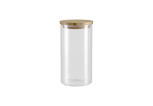 """Банка для сыпучих продуктов Nadoba """"Vilema""""  изготовлена из ударопрочного боросиликатного стекла  высокого качества. Банка прекрасно подойдет для  хранения различных сыпучих продуктов: специй, чая,  кофе, сахара, круп и многого другого. Герметичная  крышка из натурального бамбука с силиконовым  уплотнителем плотно закрывается, дольше сохраняя  свежесть продуктов. Диаметр банки: 9,5 см.  Высота банки: 18,5 см."""
