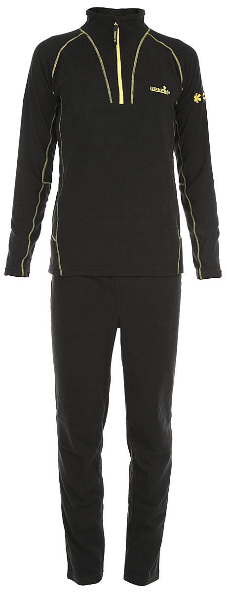 Комплект термобелья мужской Norfin Nord: кофта, брюки, цвет: черный, желтый. 3027002. Размер XXXL (64/66)3027002Термобелье универсального использования скроено из высококачественного микрофлиса. Мягкий, приятный для тела материал отводит излишнюю влагу и сохраняет тепло - обеспечивая внутренний комфорт телу даже при высоких физических нагрузках. Термобелье рекомендуется надевать на голое тело при низкой, и на тонкое термобелье - при высокой активности. Плоские швы, выполненные в контрастном цвете, не натирают кожу. Горловина с воротником-стойкой оснащена надежной застежкой молнией с защитой подбородка. Брюки дополнены эластичной резинкой на поясе. Комплект оформлен логотипами бренда. Такой комплект термобелья идеально подойдет для прогулок и занятий спортом в холодные дни!