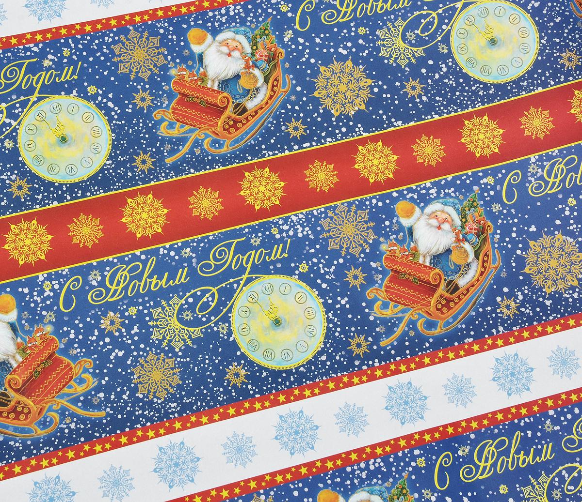 Бумага упаковочная Дед мороз в санях, 100 см х 70 см бумага упаковочная magic time украшения и подарки 100 х 70 см