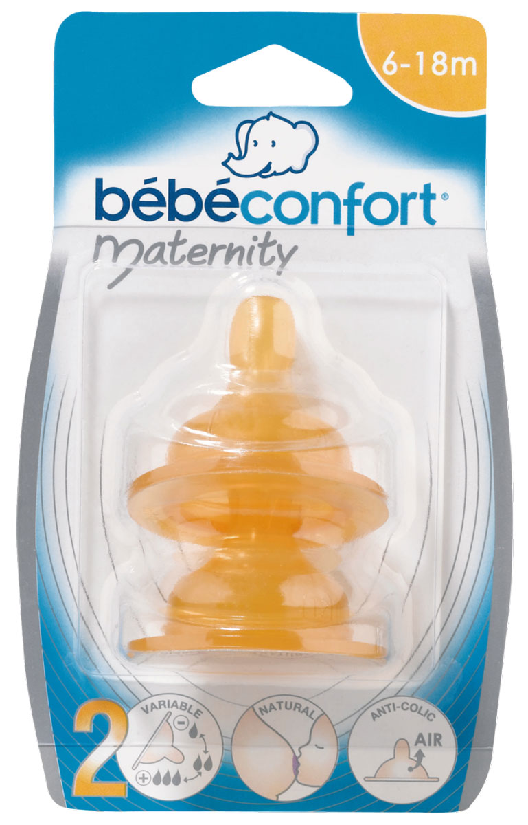 Bebe Confort Соска Maternity S2 латекс 6-24 месяцев 2 шт bebe confort соска силиконовая maternity s1 0 12 месяцев 2 шт