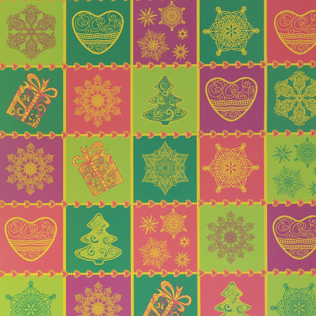 Бумага упаковочная Снежинки и сердца, 100 х 70 см34943Даже небольшой подарок, будучи красиво упакованным, может зажечь фантазию получателя и подарить немало ярких впечатлений еще до того, как он развернет ее. С помощью упаковочной бумаги Снежинки и сердца вы сможете создать восхитительную эксклюзивную упаковку для подарков родным и близким. Мелованная с одной стороны бумага оформлена цветным изображением снежинок, сердец и елок. Длина бумаги: 100 см. Ширина бумаги: 70 см. Плотность: 80 г/м2.