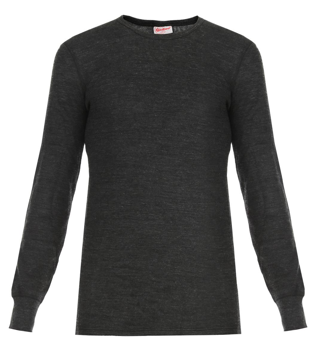 Термобелье футболка с длинным рукавом мужская Guahoo Everyday, цвет: темно-серый. 21-0460-S. Размер L (52)21-0460-SДвухслойная мужская футболка с длинным рукавом Guahoo Everyday подходит для повседневной носки в холодную погоду. Идеальное сочетание различных видов пряжи с добавлением натуральной шерсти во внешнем слое, а также специальное плетение обеспечивают эффективное сохранение тепла. Внутренний слой полотна - из мягкой акриловой пряжи, которая по своим теплосберегающим свойствам не уступает шерсти. Начес на внутренней стороне полотна лучше сохраняет тепло за счет дополнительной воздушной прослойки.Футболка с длинными рукавами и круглым вырезом горловины оформлена небольшой нашивкой с названием бренда. Рукава дополнены широкими трикотажными манжетами.Рекомендуемый температурный режим от -20°С до -40°С.