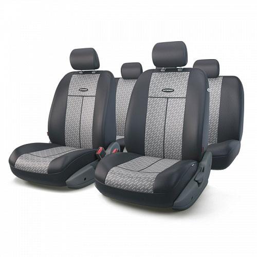 Авточехлы Autoprofi TT, цвет: черный, серый, 9 предметов. TT-902J STEELTT-902J STEELАвтомобильные чехлы Autoprofi TT изготавливаются из высококачественного полиэстера со вставками из поролона, обеспечивающего сцепление с сиденьем. Мягкие чехлы являются отличным дополнением салона любого автомобиля. Изделия придают автомобильному интерьеру современные и солидные черты.Универсальная конструкция подходит для большинства автомобильных сидений. Подходят для автомобилей с боковыми подушками безопасности (распускаемый шов).Специальные молнии, расположенные в чехлах спинки заднего ряда, позволяют использовать чехлы на автомобилях с различными пропорциями складывания заднего ряда.Комплектация: 5 подголовников, 2 чехла сидений переднего ряда, 1 спинка заднего ряда, 1 сиденье заднего ряда.