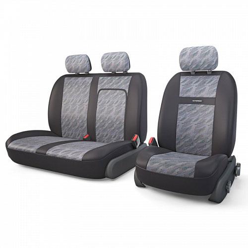 Авточехлы Autoprofi Tranzit, для фургонов, цвет: черный, серый, 7 предметов. TRZ-702 CLOUDTRZ-702 CLOUDАвтомобильные чехлы Autoprofi Tranzit изготавливаются из высококачественного полиэстера со вставками из поролона, обеспечивающего сцепление с сиденьем. Мягкие чехлы являются отличным дополнением салона любого фургона. Изделия придают автомобильному интерьеру современные и солидные черты.Чехлы подходят для большинства видов коммерческого автотранспорта.В спинке пассажирского сидения имеется молния для откидного столика.Комплектация: 3 подголовника, 2 чехла на сиденья, 2 чехла на спинки.