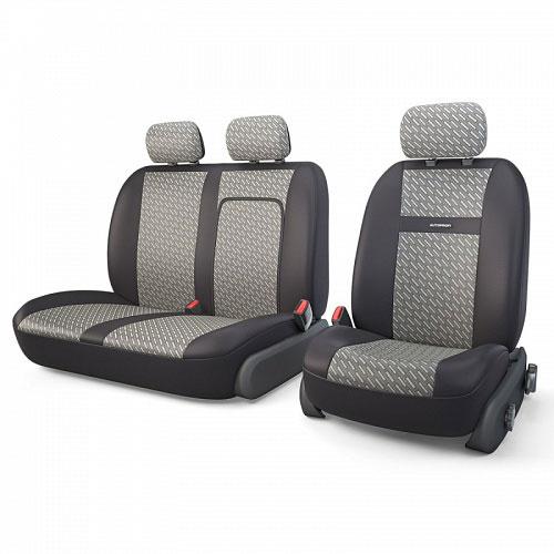 Авточехлы Autoprofi Tranzit, для фургонов, цвет: черный, серый, 7 предметов. TRZ-702 STEELTRZ-702 STEELАвтомобильные чехлы Autoprofi Tranzit изготавливаются из высококачественного полиэстера со вставками из поролона, обеспечивающего сцепление с сиденьем. Мягкие чехлы являются отличным дополнением салона любого фургона. Изделия придают автомобильному интерьеру современные и солидные черты.Чехлы подходят для большинства видов коммерческого автотранспорта.В спинке пассажирского сидения имеется молния для откидного столика.Комплектация: 3 подголовника, 2 чехла на сиденья, 2 чехла на спинки.