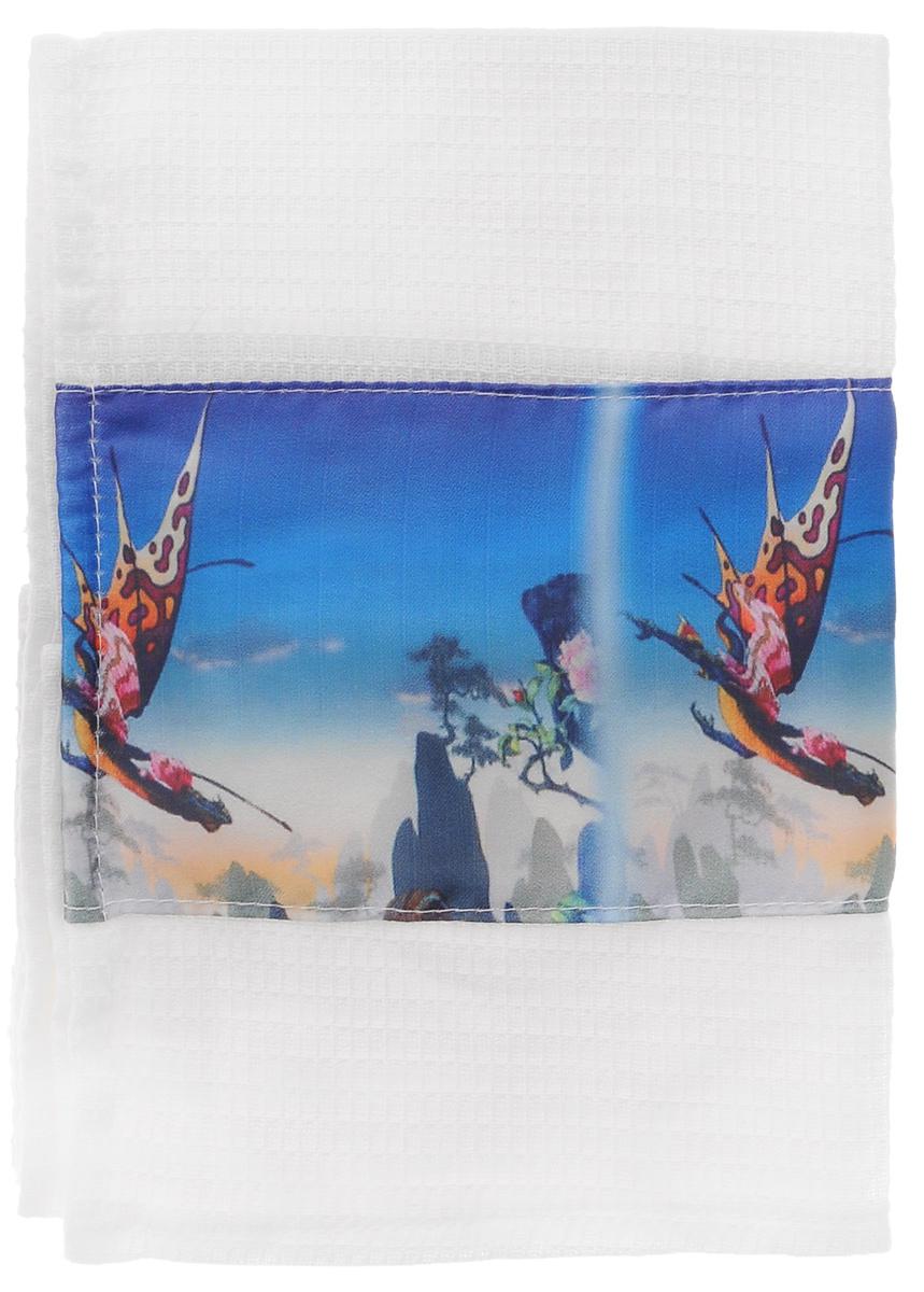 """Вафельное кухонное полотенце Eva """"Летящий дракон"""", выполненное из полиэстера и хлопка, пригодится в каждом доме. Полотенце украшено красивым фотопринтом с изображением летящего дракона на фоне скал и голубого неба. Изделие предназначено для использования на кухне и в столовой.   Полотенце Eva """"Летящий дракон"""" - отличный вариант для практичной и современной хозяйки."""
