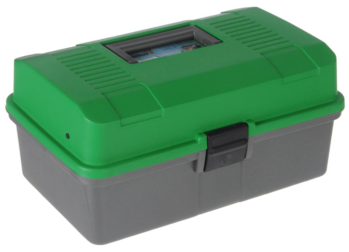 Ящик рыболова Helios, цвет: зеленый, серый, 34 см х 20 см х 16 см