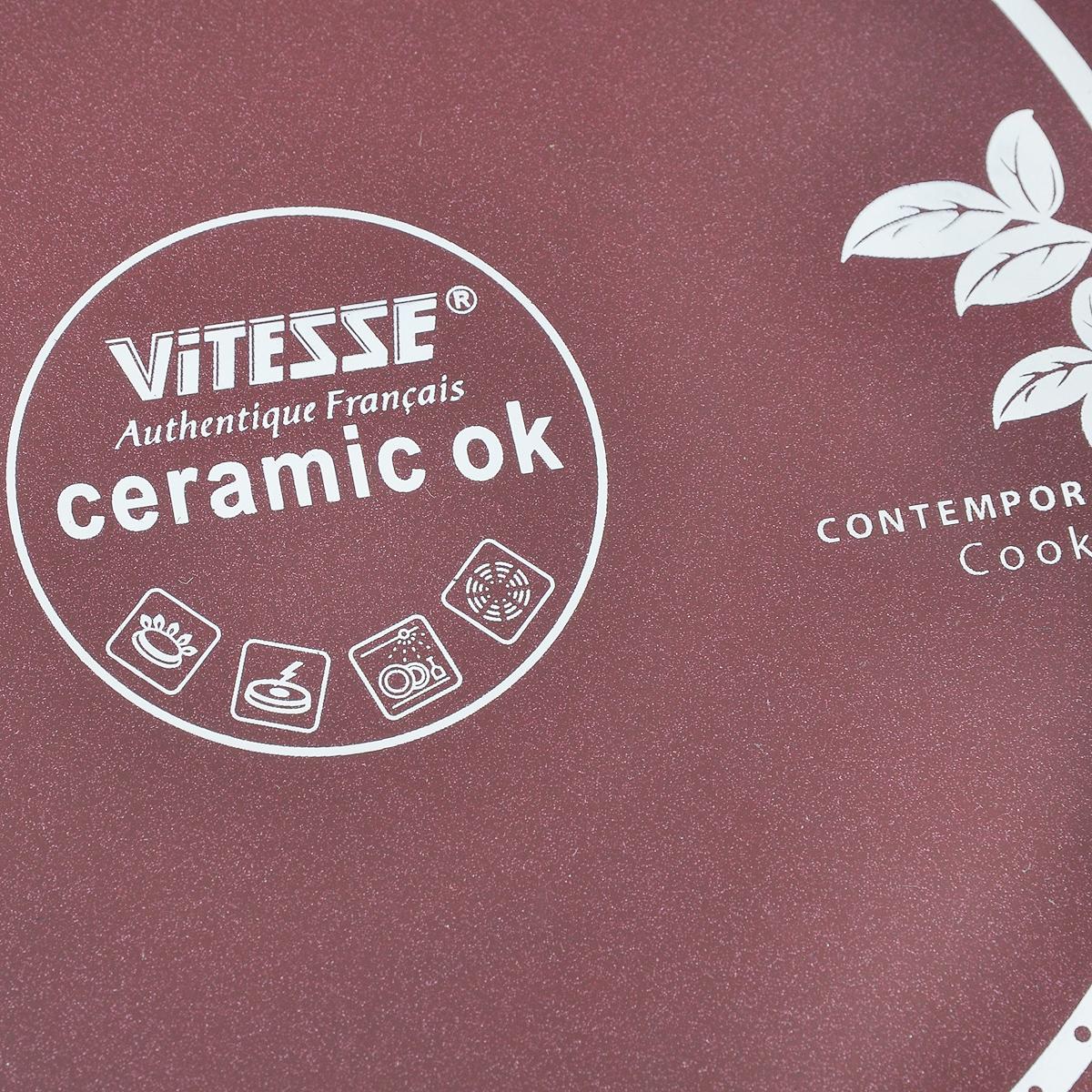 """Сковорода """"Vitesse"""" изготовлена из высококачественного литого алюминия, что  обеспечивает равномерное нагревание и доведение блюд до готовности.  Наружное термостойкое цветное покрытие обеспечивает легкую чистку.  Внутреннее керамическое покрытие Eco-Cera абсолютно безопасно  для здоровья человека и окружающей среды, так как не содержит вредной  примеси PFOA и имеет низкое содержание CO в выбросах при производстве.  Керамическое покрытие обладает высокой прочностью, что позволяет готовить  при температуре до 450°С и использовать металлическую лопатку. Кроме того, с таким покрытием пища не пригорает и не  прилипает к стенкам. Готовить можно с  минимальным количеством подсолнечного масла.  Сковорода оснащена бакелитовой высокопрочной огнестойкой не нагревающейся  ручкой эргономичной формы.  Можно использовать на газовых, электрических, стеклокерамических,  галогенных плитах. Можно мыть в посудомоечной машине.  Диаметр сковороды: 20 см.  Высота стенок: 4,5 см.  Толщина стенок: 2 мм.  Толщина дна: 3 мм.  Длина ручки: 16 см."""