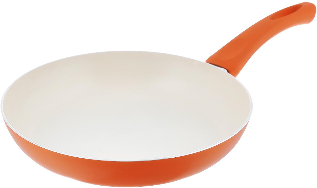 Сковорода Mayer & Boch, с керамическим покрытием, цвет: оранжевый, молочный. Диаметр 26 см. 2195721957_оранжевыйСковорода Mayer & Boch, изготовленная из литого алюминия с керамическим покрытием, предназначена для здорового приготовления пищи. Пища не пригорает и не прилипает к стенкам. Абсолютно гладкая поверхность легко моется. Посуда экологически чистая, не содержит примеси ПФОК. Рукоятка специального дизайна, выполненная из пластика с силиконовым покрытием, удобна и комфортна в эксплуатации. Внешнее цветное покрытие устойчиво к воздействию высоких температур. Можно использовать на газовых, электрических и стеклокерамических плитах. Не подходит для индукционных плит. Можно мыть в посудомоечной машине.Диаметр: 26 см.Высота стенки: 5 см.Толщина стенки: 2,5 мм.Толщина дна: 2,5 мм. Длина ручки: 19 см.