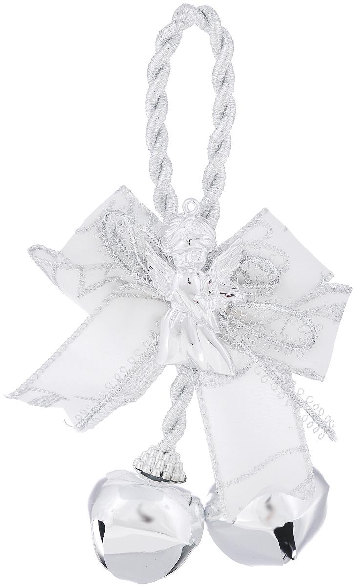 Новогоднее подвесное украшение Феникс-презент Бубенцы с бантиком, цвет: серебряный, белый, 8,5 х 10,5 х 3,5 см 38604 трынцы брынцы бубенцы