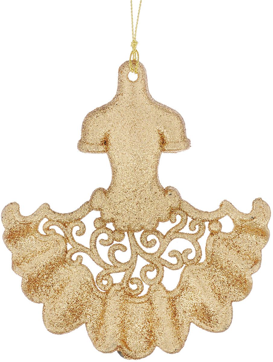 Новогоднее подвесное украшение Феникс-Презент Платье, цвет: золотистый38702/75070Новогоднее украшение Феникс-Презент Платье, изготовленное из пластика, отлично подойдет для декорации вашего дома и новогодней ели. Украшение выполнено в виде платья с блестками и оснащено текстильной петелькой, с помощью которой его можно повесить в любом понравившемся вам месте. Елочная игрушка - символ Нового года. Она несет в себе волшебство и красоту праздника. Создайте в своем доме атмосферу веселья и радости, украшая всей семьей новогоднюю елку нарядными игрушками, которые будут из года в год накапливать теплоту воспоминаний.