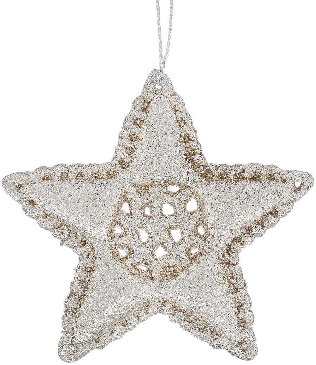 Новогоднее подвесное украшение Феникс-Презент Звездочка, цвет: серебристый феникс презент