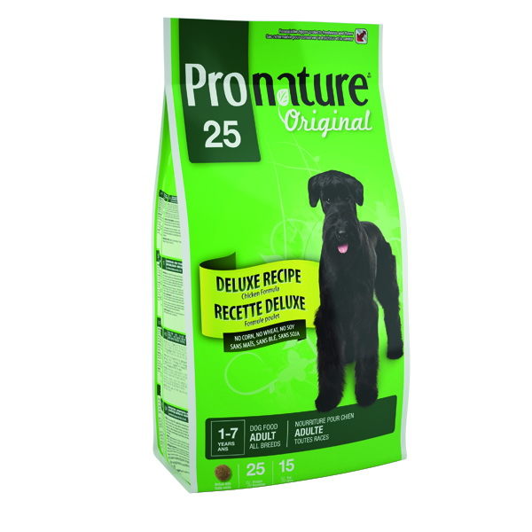 Корм сухой Pronature Original 25, для собак без сои, пшеницы, кукурузы 15кг30161Для собак с чувствительным желудком и склонности к аллергии специально разработанная формула Pronature Original де-люкс с курицей и шпинатом оптимально усваивается, не содержит пшеницы, кукурузы и сои и удовлетворяет всем потребностям чувствительного организма!Не содержит красителей, искусственных ароматизаторов, сои, свинины, говядины, субпродуктов (мясокостной муки) и ГМО.Содержит важнейшие элементы, необходимые на каждой стадии жизни для здоровья суставов, сосудов, кожи и др. (МОС, ФОС, Omega 3-6-9). Натуральные источники пребиотиков способствуют росту нормальной кишечной микрофлоры, укрепляют иммунитет и помогают организму бороться с болезнетворными бактериямиСодержит уникальный набор целебных трав, признанных своими терапевтическими свойствами.Вкусные хрустящие кусочки для здоровья и долгой счастливой жизни вашего питомца!Ингредиенты:мука из мяса курицы, рис пивной, специально обработанные ядра зерен ячменя и овса, куриный жир, сохраненный смесью натуральных токоферолов (витамин Е), сушеная мякоть свеклы, кальция карбонат, мононатрия фосфат, натуральный ароматизатор, цельное льняное семя, лецитин, дрожжевая культура, сушеная люцерна, сушеная мякоть томата, калия хлорид, холина хлорид, кальция пропионат, соль, железа сульфат, глюкозамина сульфат, цинка оксид, альфа-токоферол ацетат (витамин Е), экстракт юкки Шидигера, натрия селенит, тиамина мононитрат, меди сульфат, сушеная клюква, сушеный розмарин, сушеный тимьян, сушеные яблоки, сушеный шпинат, сушеная морковь, витамины и минералы.Гарантированный анализПротеин 25 % минимумЖир 15 % минимумВлажность 12 % максимумСырая клетчатка 3 % максимумЗола 9 % максимумКальций 1.2 % минимумФосфор 1 % минимумВитамин А 19 000 МЕ / кг минимумVitamin D3 2000 МЕ / кг минимумВитамин Е 110 МЕ / кг минимум