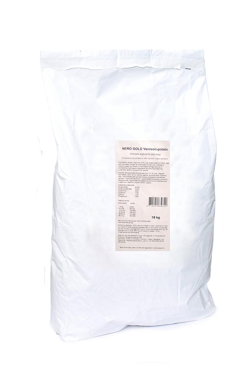 Корм сухой Nero Gold Venison-Potato, для взрослых собак, оленина и сладкий картофель, 18 кг10194Корм сухой Nero Gold Venison-Potato является хорошим выбором для взрослых собакNero Gold - это линейка полностью сбалансированных кормов для собак и кошек супер премиум класса. Состав: дегидрированная оленина (мин. 21 %), рис, картофельная мука (мин. 20 %), мякоть свеклы, льняное семя, куриный жир, гидролизованная куриная печень, минералы и витамины, дрожжи, подсолнечное масло, гидролизованные хрящи (источник хондроитина), гидролизат ракообразных (источник глюкозамина), L-карнитин, лецитин, инулин (ФОС), таурин. Пищевая ценность: протеин 20%, жиры 10%, клетчатка 2,5%, зола 7,5%, влажность 9%, фосфор 0,9%, кальций 1,2%.Пищевые добавки (на 1 кг): витамин A (E672) 15 000 IU, витамин D3 (E671) 1 500 IU, витамин E (альфа токоферола ацетат) 200 мг, витамин C (фосфат аскорбиновой кислоты) 70 мг, сульфат железа 50 мг, иодат кальция 1,5 мг, сульфат меди 5 мг, сульфат марганца 35 мг, сульфат цинка 65 мг.Товар сертифицирован.