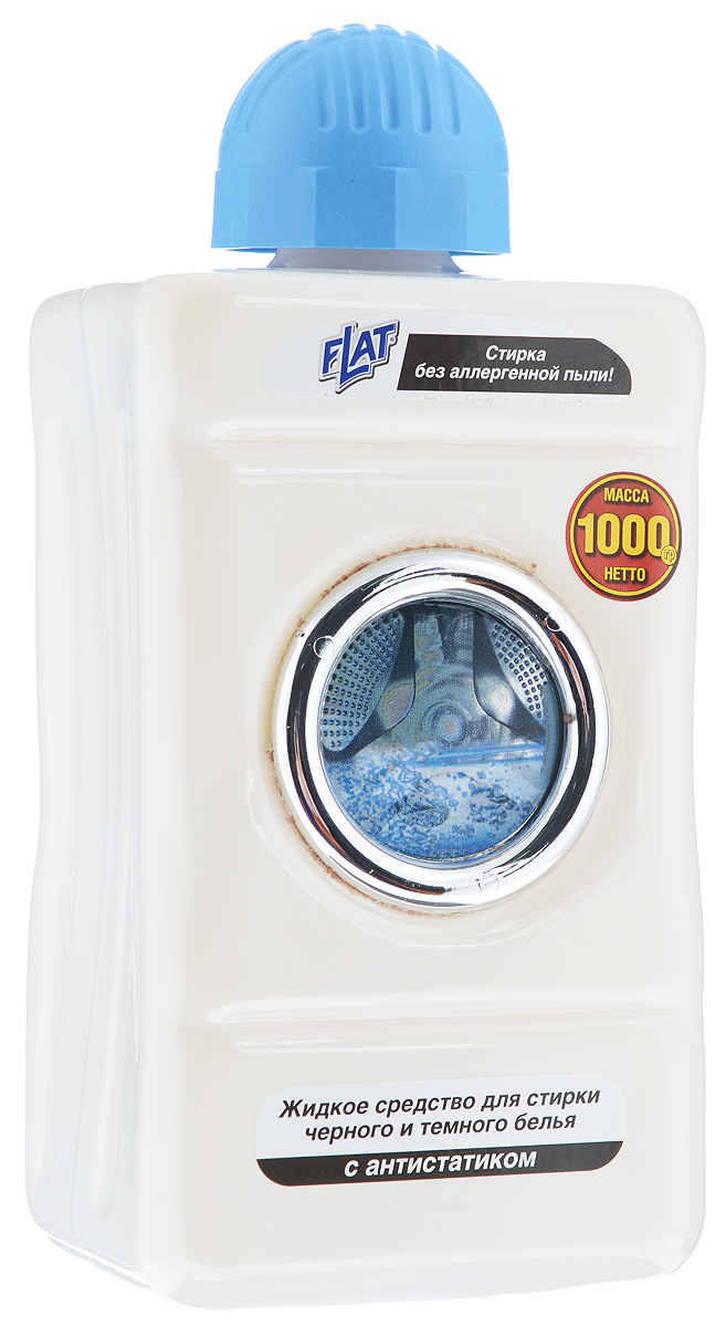 Жидкий стиральный порошок Flat для черного и темного белья, с антистатиком, 1000 г порошокстиральныйдля ручнойстирки350г пемос