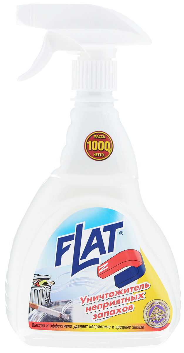 Уничтожитель неприятных запахов Flat, 1000 г4600296 00247 2Уникальное средство Flat не просто перебивает запахи, а устраняет их химическим связыванием. Высокоэффективный компонент в составе средства захватывает молекулы неприятного запаха, преобразовывает их в кристаллический осадок, предотвращая распространение запаха. Благодаря такому механизму действия, уничтожитель неприятного запахов, в отличии от аэрозолей, безопасен для людей, животных и окружающей среды. Средство предназначено для применение в жилых и нежилых помещениях и на различных поверхностях: в туалетных комнатах, кухнях, для удаления табачного дыма, для устранения запахов с одежды, обуви, мебели, ковров. Не содержит ароматической композиции, поэтому после его применения не остается никаких запахов.Состав: вода, композиция ПАВ, функциональные добавки, консервант.Товар сертифицирован.Как выбрать качественную бытовую химию, безопасную для природы и людей. Статья OZON Гид