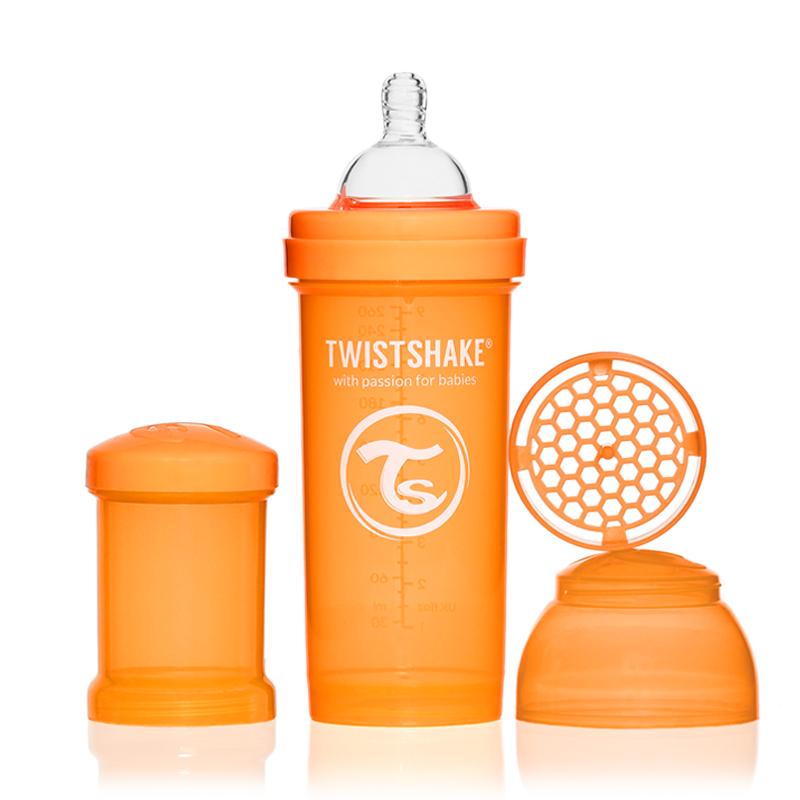 Twistshake Бутылочка для кормления 260 мл с контейнером для сухой смеси и соской 2+, оранжевая