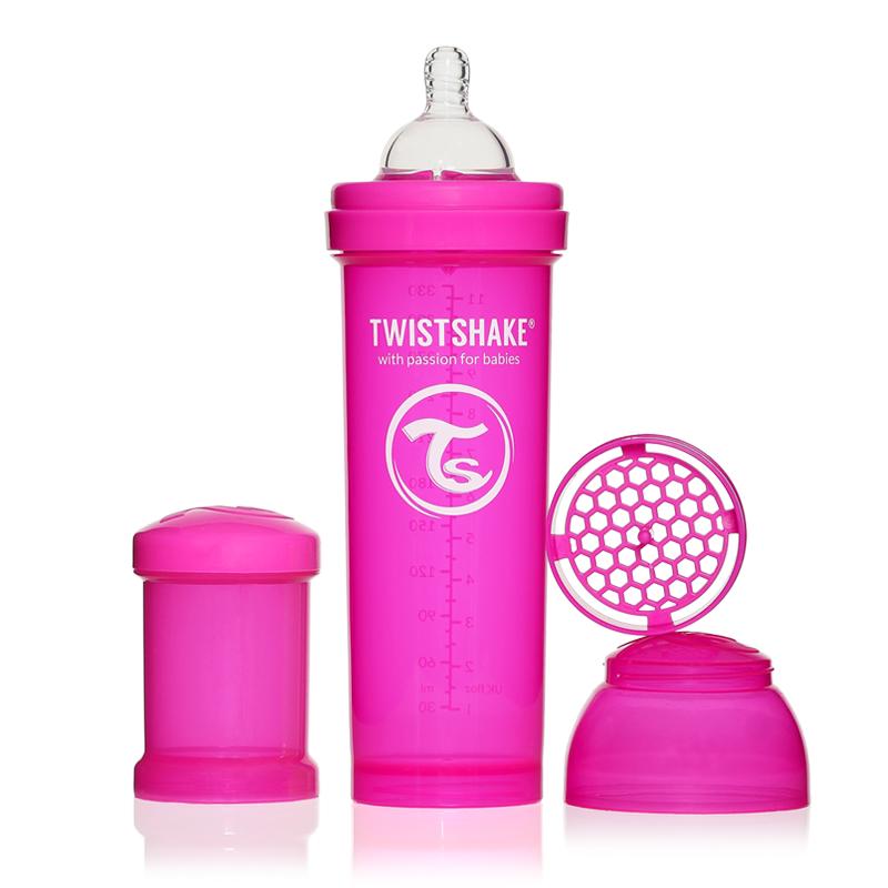 Twistshake Бутылочка для кормления 330 мл с контейнером для сухой смеси и соской 4+, розовая