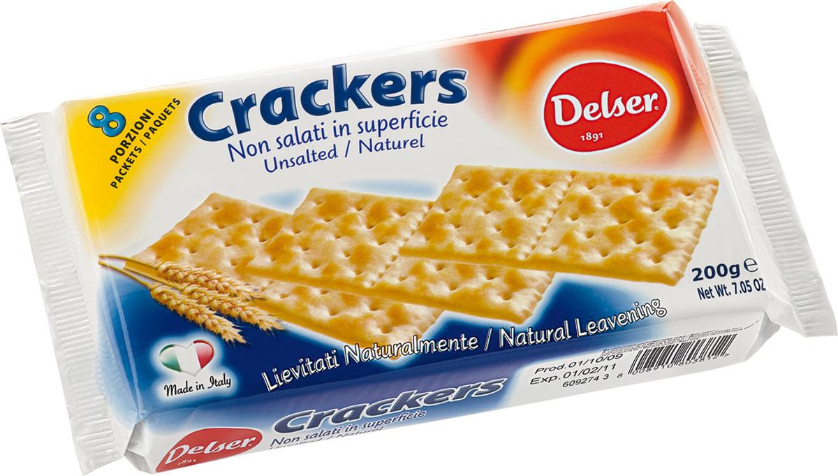 Delser крекеры без соли0453Delser - удобные, индивидуально упакованные крекеры, которые можно взять куда захочется. Отличная альтернатива хлебу. Крекеры готовят из полезных и натуральных ингредиентов. Кроме того, крекеры настолько ароматные и вкусные благодаря 24 часовой натуральной закваске.Delser не использует генномодифицированные продукты, гидрогенизированные жиры и транс-жиры, красители и консерванты. Постоянно ищет новые ингредиенты и рецептуры, при этом не забывая свою историю и не изменяя своим традициям, что позволяет удовлетворять вкусы потребителей уже много лет.