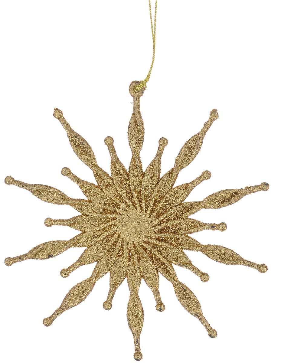 Новогоднее подвесное украшение Феникс-Презент Солнышко, цвет: золотистый, диаметр 11,1 см38722/75092Новогоднее украшение Феникс-Презент Солнышко, выполненное из высококачественного пластика, прекрасно подойдет для праздничного декора вашей ели. Оригинальное новогоднее украшение оформлено блестками и оснащено текстильной петелькой для подвешивания. Елочная игрушка - символ Нового года. Она несет в себе волшебство и красоту праздника. Создайте в своем доме атмосферу веселья и радости, украшая всей семьей новогоднюю елку нарядными игрушками, которые будут из года в год накапливать теплоту воспоминаний.