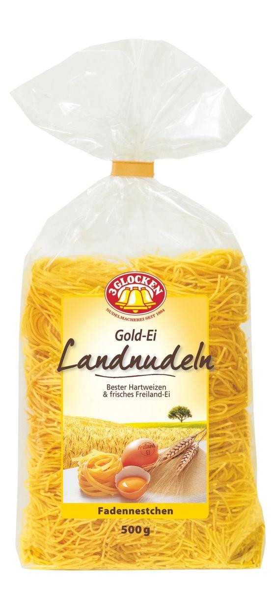 3 Glocken Fadennestchen гнезда, 500 гGE 608043Макароны 3 Glocken Fadennestchen изготовлены из муки твердых сортов, содержащей чуть меньшее количество клейковины, чем обыкновенная мука. Она хорошо поглощает воду, макароны из нее при варке увеличиваются и не развариваются.3 Glocken Fadennestchen содержат четыре яйца на один килограмм муки. Изысканная упаковка с бантиком и домашняя рецептура делают эту серию особенно привлекательной. Условия хранения: в сухом прохладном месте при температуре до 30°C и относительной влажности воздуха не более 70%