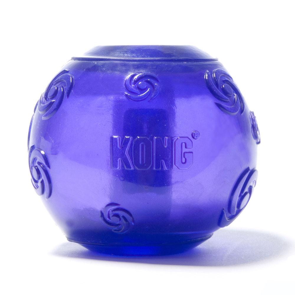 Игрушка для собак Kong Сквиз Мячик, средний, с пищалкой, цвет: фиолетовый, диаметр 6 см игрушка для собак грызлик ам мячик bottle sound цвет голубой диаметр 9 3 см