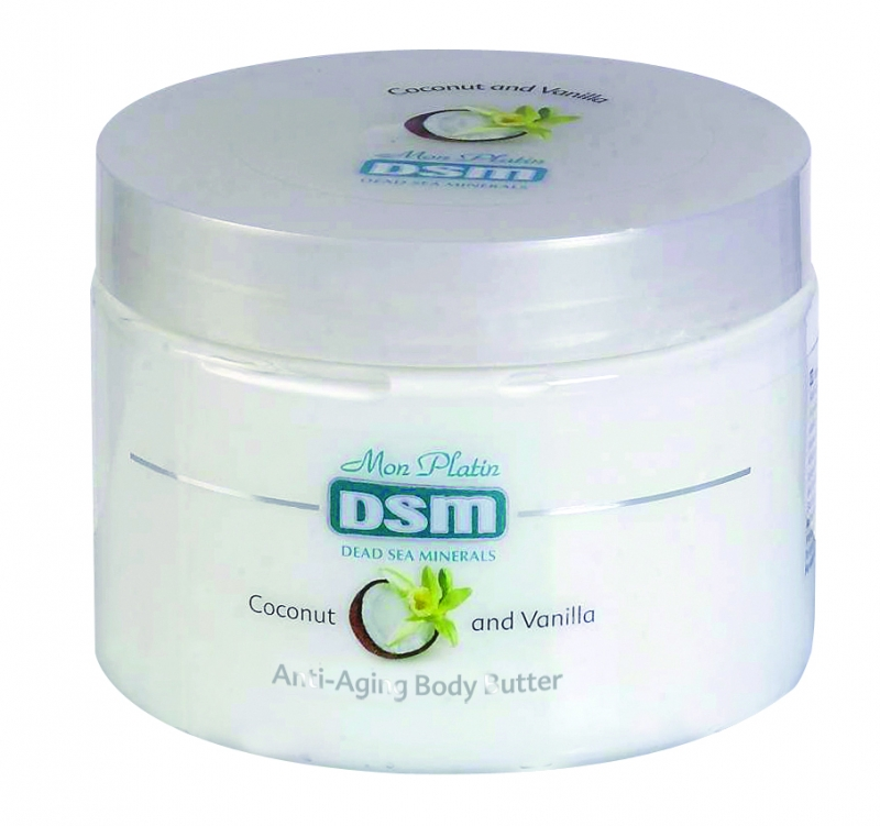 Mon Platin DSM Масло для тела для предотвращения старения (анти-эйджинг) с ванильно-кокосовое 300 млDSM96Масло для тела для предотвращения старения (анти-эйджинг) ваниль-кокос обладает успокаивающим действием, придаёт коже эластичность, ускоряет обновление её клеток и повышает упругость кожи. Содержит 26 минералов Мертвого моря, витаминов А и С.Кокосовое масло является прекрасным источником питания для кожи, создаёт устойчивый защитный барьер, предохраняет кожу от пересыхания, делает её мягкой и гладкой.Масло ванили обладает омолаживающим свойством, делает кожу более мягкой, упругой и подтянутой, воздействует на её регенерацию и сохранение в ней влаги.