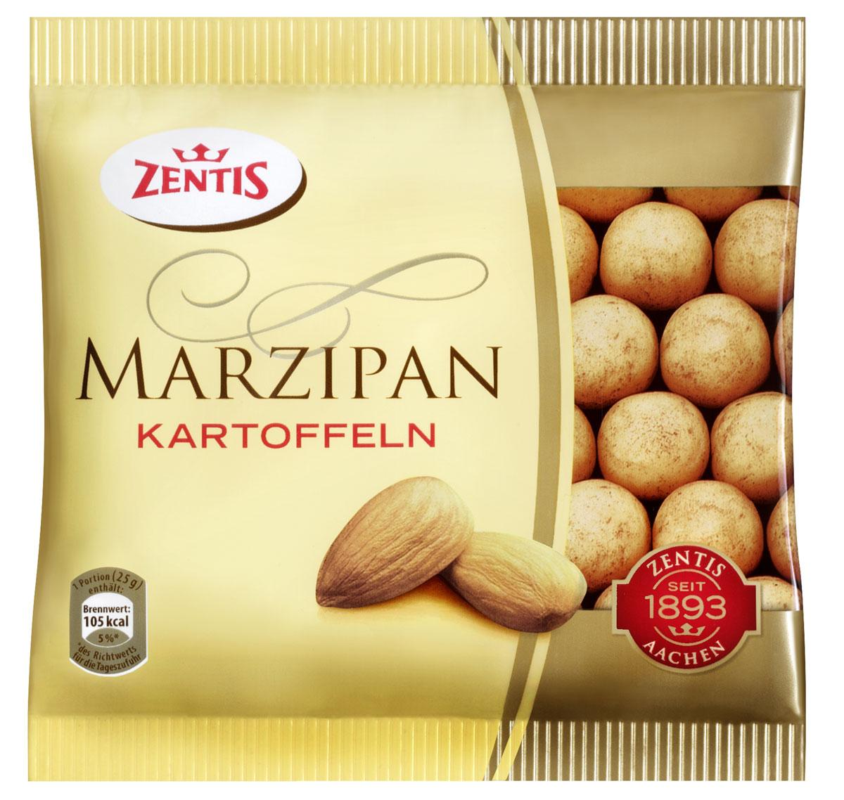 Zentis марципановая картошка, 100 г901039 ЦмZentis - это классический нежный марципан в темном какао.