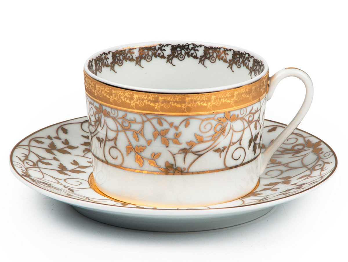 Mimosa Lierre Or 947, набор чайных пар (6шт), цвет: белый с золотом mimosa handbuch