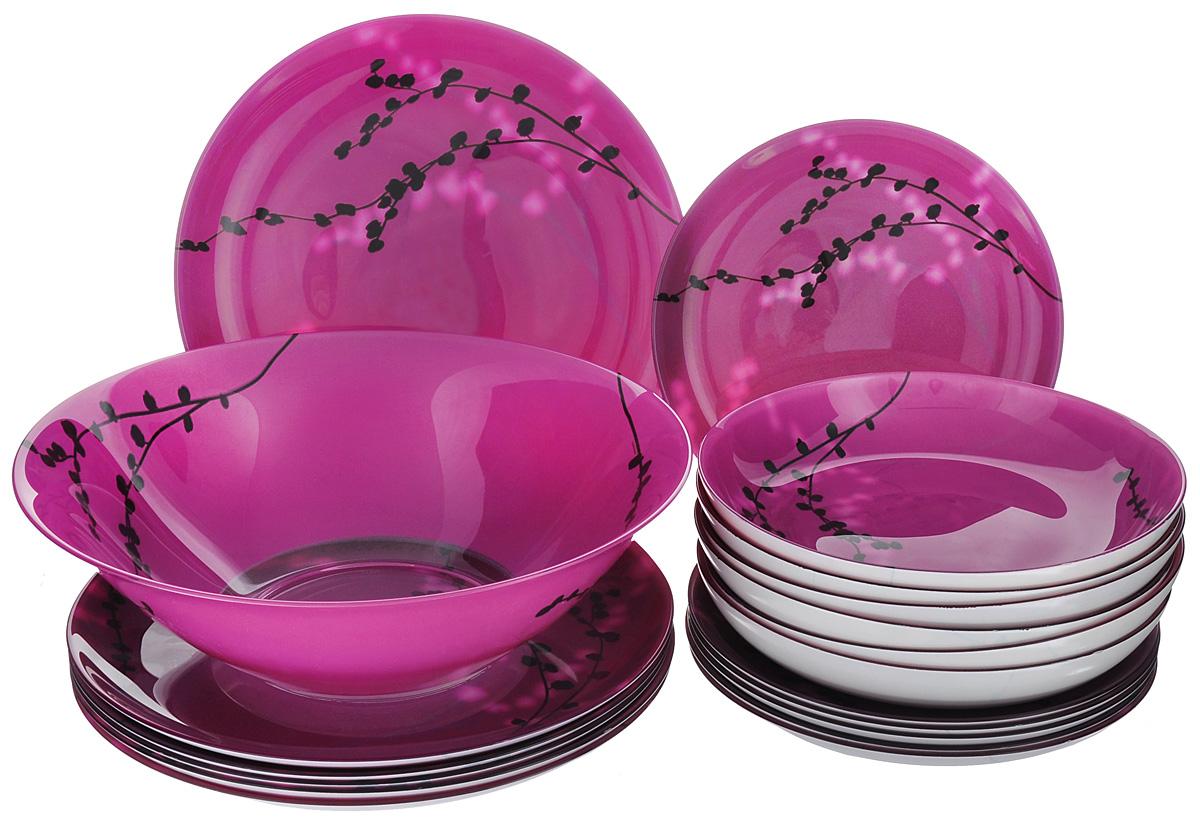 """Набор Luminarc """"Kashima Fushia"""" состоит из 6 суповых тарелок, 6 обеденных тарелок, 6 десертных тарелок и глубокого салатника. Изделия выполнены из ударопрочного стекла, имеют яркий дизайн с изящным цветочным рисунком в японском стиле и классическую круглую форму. Посуда отличается прочностью, гигиеничностью и долгим сроком службы, она устойчива к появлению царапин и резким перепадам температур. Такой набор прекрасно подойдет как для повседневного использования, так и для праздников или особенных случаев. Набор столовой посуды Luminarc """"Kashima Fushia"""" - это не только яркий и полезный подарок для родных и близких, а также великолепное дизайнерское решение для вашей кухни или столовой. Можно мыть в посудомоечной машине и использовать в микроволновой печи. Диаметр суповой тарелки: 20,5 см. Высота суповой тарелки: 3,2 см.Диаметр обеденной тарелки: 25 см. Высота обеденной тарелки: 2 см. Диаметр десертной тарелки: 20 см. Высота десертной тарелки: 1,9 см. Диаметр салатника: 27 см. Высота стенки салатника: 8,5 см."""