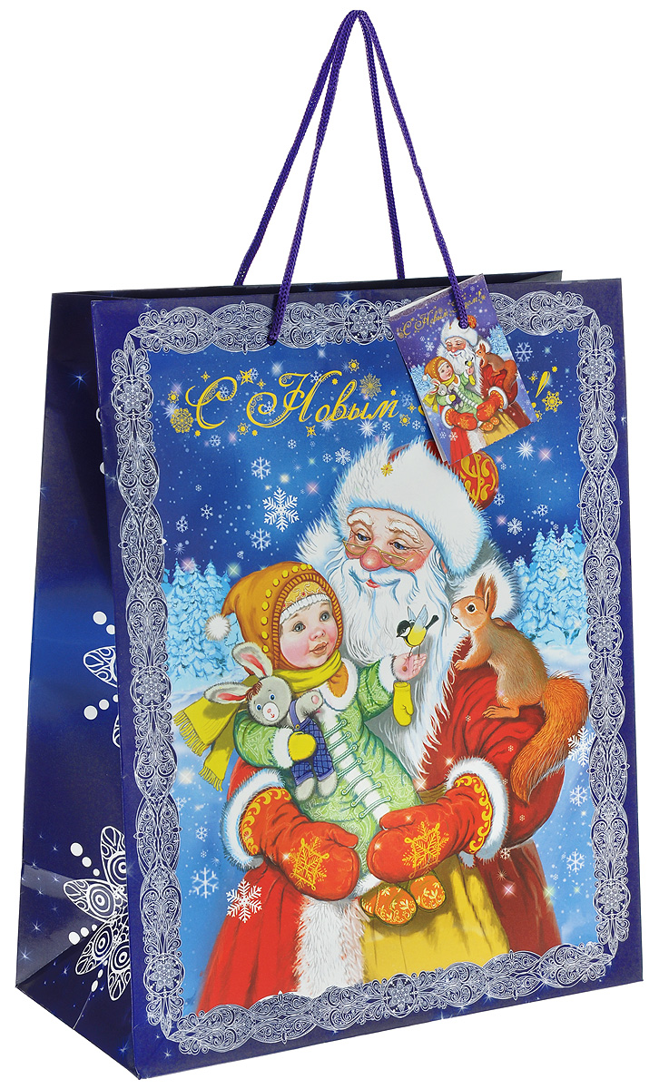 Пакет подарочный Феникс-Презент Дедушка Мороз с девочкой, 26 х 32,4 х 12,7 см38553Подарочный пакет Феникс-Презент Дедушка Мороз с девочкой, изготовленный из плотной бумаги, станет незаменимым дополнением к выбранному подарку. Дно изделия укреплено картоном, который позволяет сохранить форму пакета и исключает возможность деформации дна под тяжестью подарка. Для удобной переноски на пакете имеются две ручки из шнурков.Подарок, преподнесенный в оригинальной упаковке, всегда будет самым эффектным и запоминающимся. Окружите близких людей вниманием и заботой, вручив презент в нарядном, праздничном оформлении.