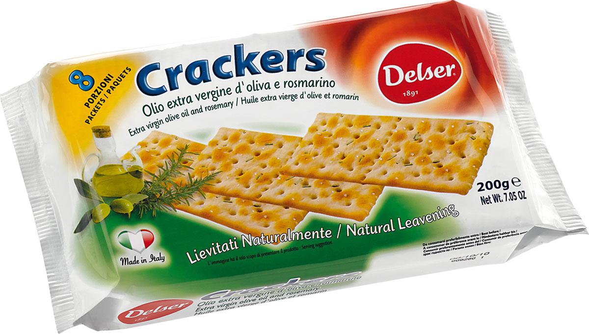 Delser крекеры с розмарином и оливковым маслом0454Delser - удобные, индивидуально упакованные крекеры, которые можно взять куда захочется. Отличная альтернатива хлебу. Крекеры изготовлены из полезных и натуральных ингредиентов. Delser не использует генномодифицированные продукты, гидрогенизированные жиры и транс-жиры, красители и консерванты. Постоянно ищет новые ингредиенты и рецептуры, при этом не забывая свою историю и не изменяя своим традициям, что позволяет удовлетворять вкусы потребителей уже много лет.