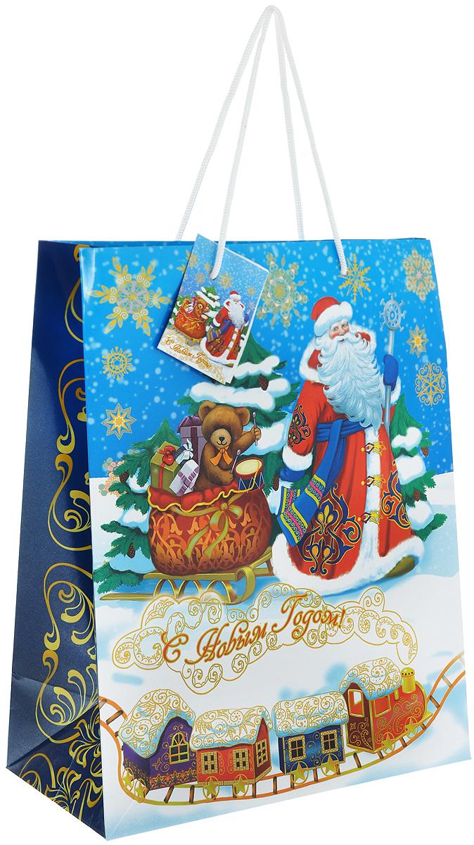 Пакет подарочный Феникс-Презент Дед Мороз и медвежонок, 26 х 32,4 х 12,7 см38559Подарочный пакет Феникс-презент Дед Мороз и медвежонок, изготовленный из плотной бумаги, станет незаменимым дополнением к выбранному подарку. Дно изделия укреплено картоном, который позволяет сохранить форму пакета и исключает возможность деформации дна под тяжестью подарка. Для удобной переноски на пакете имеются две ручки из шнурков.Подарок, преподнесенный в оригинальной упаковке, всегда будет самым эффектным и запоминающимся. Окружите близких людей вниманием и заботой, вручив презент в нарядном, праздничном оформлении.