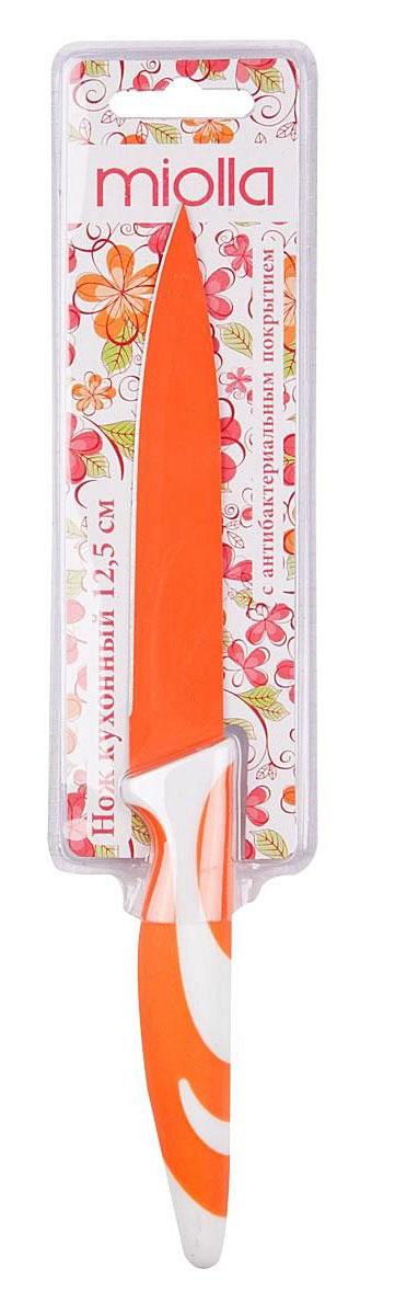 Нож кухонный Miolla, цвет: оранжевый, длина лезвия 12,5 см1508058UКухонный нож Miolla - незаменимый помощник на вашей кухне. Лезвие изготовлено из стали. Стальные лезвия более стойкие к воздействию кислот, содержащихся в продуктах, они более гигиеничны и не подвержены коррозии. Кроме того, лезвия из стали сохраняют остроту дольше, чем другие ножи. Цветное антибактериальное покрытие лезвия предотвращает развитие микробной среды на продуктах, а также препятствует их налипанию и окислению в процессе резки.Легкая, отлично сбалансированная и приятная на ощупь рукоятка удобна в использовании. Разделочный нож используется для нарезания и шинковки любых продуктов. Можно мыть в посудомоечной машине.