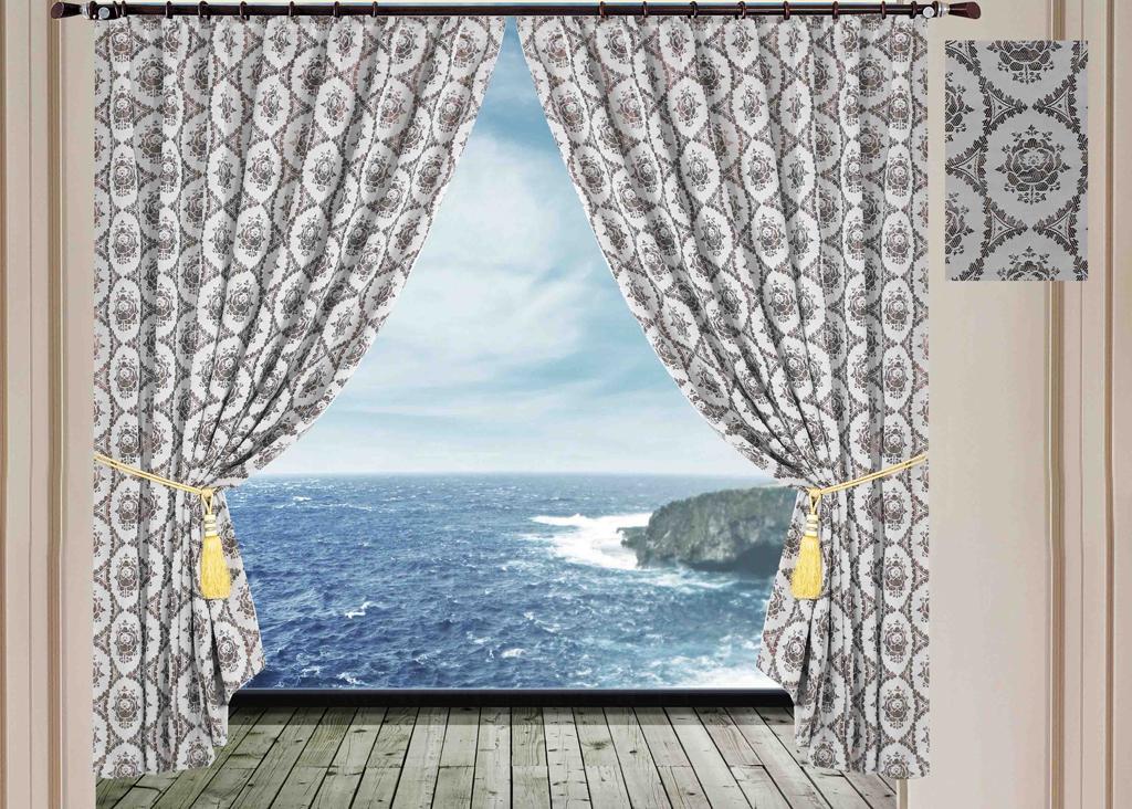 """Комплект штор """"SL"""", на ленте, цвет: светло-серый, высота 270 см. 10242"""