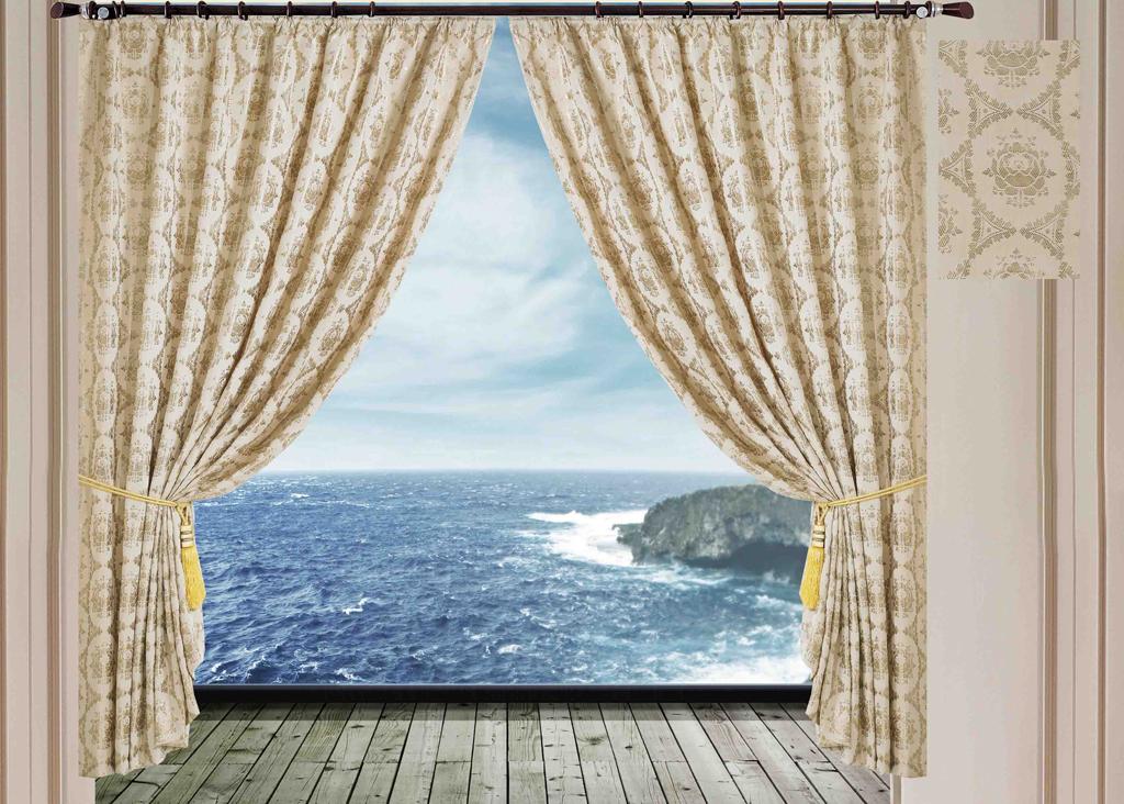Комплект штор SL, на ленте, цвет: слоновая кость, высота 270 см. 1025710257Роскошный комплект штор SL изготовлен из мягкого бархатистого полиэстера с жаккардовым рисунком. Комплект состоит из двух плотных полотен, благодаря чему они надежно защищают комнату от солнечного света днем и от уличного освещения вечером. По верхнему краю прошита плотная широкая шторная лента для крючков. Рекомендации по уходу: - Ручная или машинная стирка при температуре не выше 40°С. - Разрешено гладить при максимальной температуре 110°С. - При стирке не использовать средства содержащие отбеливатели. - Химическая чистка запрещена.