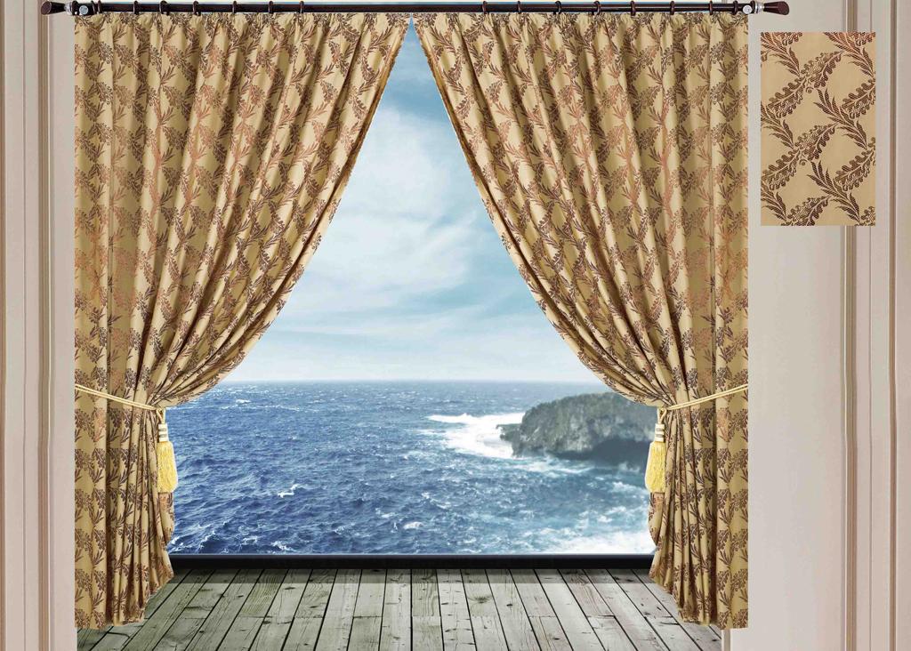 """Комплект штор """"SL"""", на ленте, цвет: оливковый, высота 270 см. 9487"""
