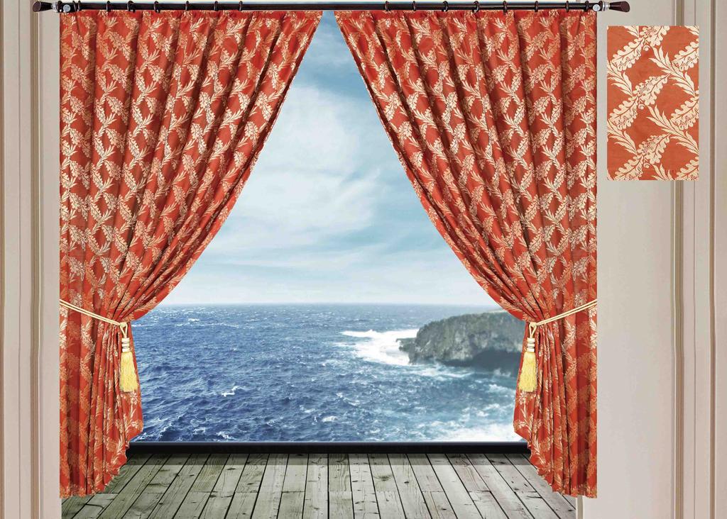 Комплект штор SL, на ленте, цвет: коричнево-красный, высота 270 см. 1026610266Роскошный комплект штор SL изготовлен из мягкого бархатистого полиэстера с жаккардовым рисунком. Комплект состоит из двух плотных полотен, благодаря чему они надежно защищают комнату от солнечного света днем и от уличного освещения вечером. По верхнему краю прошита плотная широкая шторная лента для крючков. Рекомендации по уходу: - Ручная или машинная стирка при температуре не выше 40°С. - Разрешено гладить при максимальной температуре 110°С. - При стирке не использовать средства содержащие отбеливатели. - Химическая чистка запрещена.