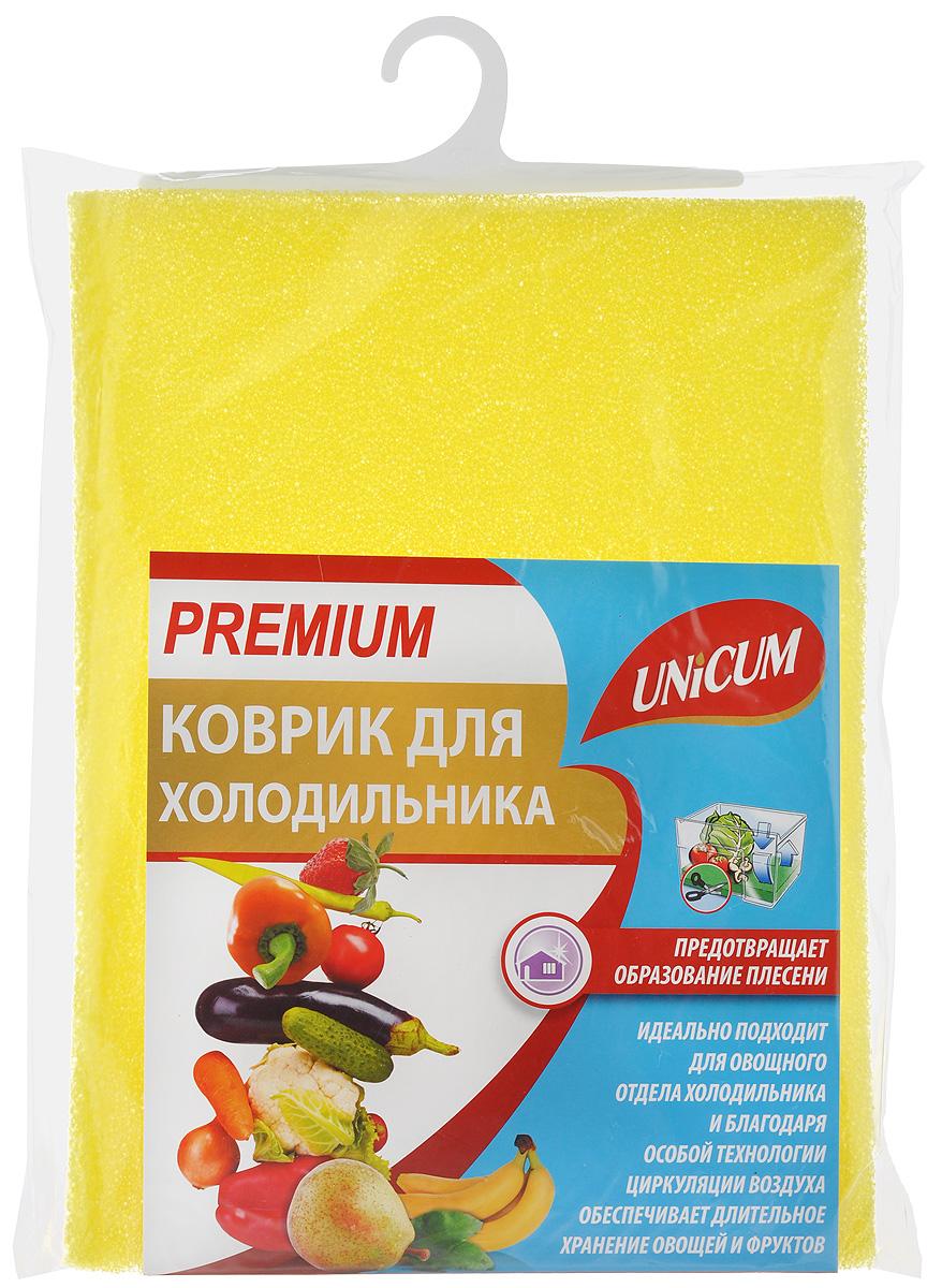 Коврик для холодильника Unicum Premium, цвет: желтый, 32 х 50 см303262_желтыйКоврик Unicum Premium, изготовленный из пенополиуретана, идеально подходит для овощного отдела холодильника и благодаря особой технологии циркуляции воздуха обеспечивает длительное хранение овощей и фруктов, предотвращает образование плесени. Впитывает лишнюю воду, конденсат, обеспечивая необходимый для хранения продуктов питания уровень влажности.Можно мыть в воде при температуре 30°С.