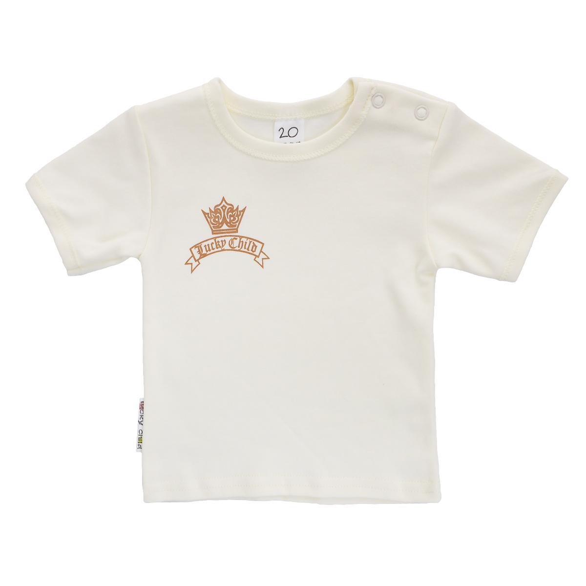 Футболка для мальчика Lucky Child, цвет: экрю. 6-26МК. Размер 92/98 футболка для мальчика lucky child цвет экрю 6 26мк размер 62 68 2 3 месяца