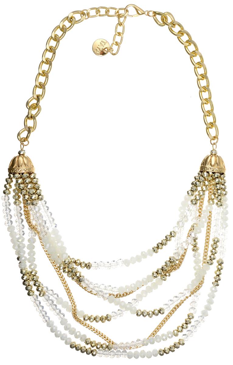 Колье Taya, цвет: золотистый, белый. T-B-1019839889|Ожерелье (короткие многоярусные бусы)Стильное колье Taya представляет собой цепь из металлического сплава золотистого цвета скрупными звеньями, к которой крепятся шесть рядов бус и два ряда цепей, переплетенных междусобой. Колье имеет надежную застежку-карабин с регулирующей длину цепочкой. Такое кольепозволит вам с легкостью воплотить самую смелую фантазию и создать собственный,неповторимый образ.
