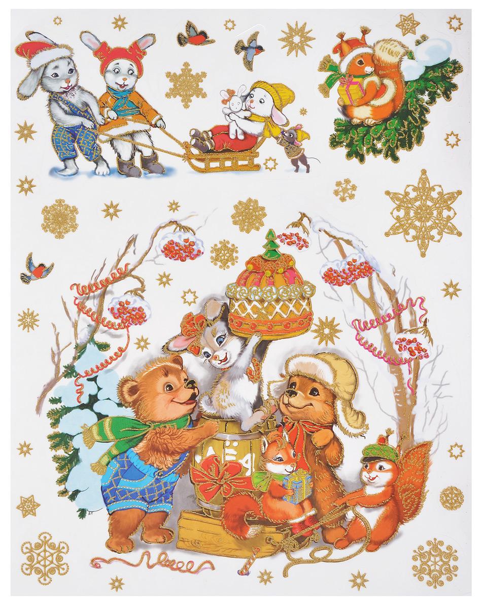 Новогоднее оконное украшение Феникс-презент Лесные зверюшки новогоднее оконное украшение феникс презент обезьянки