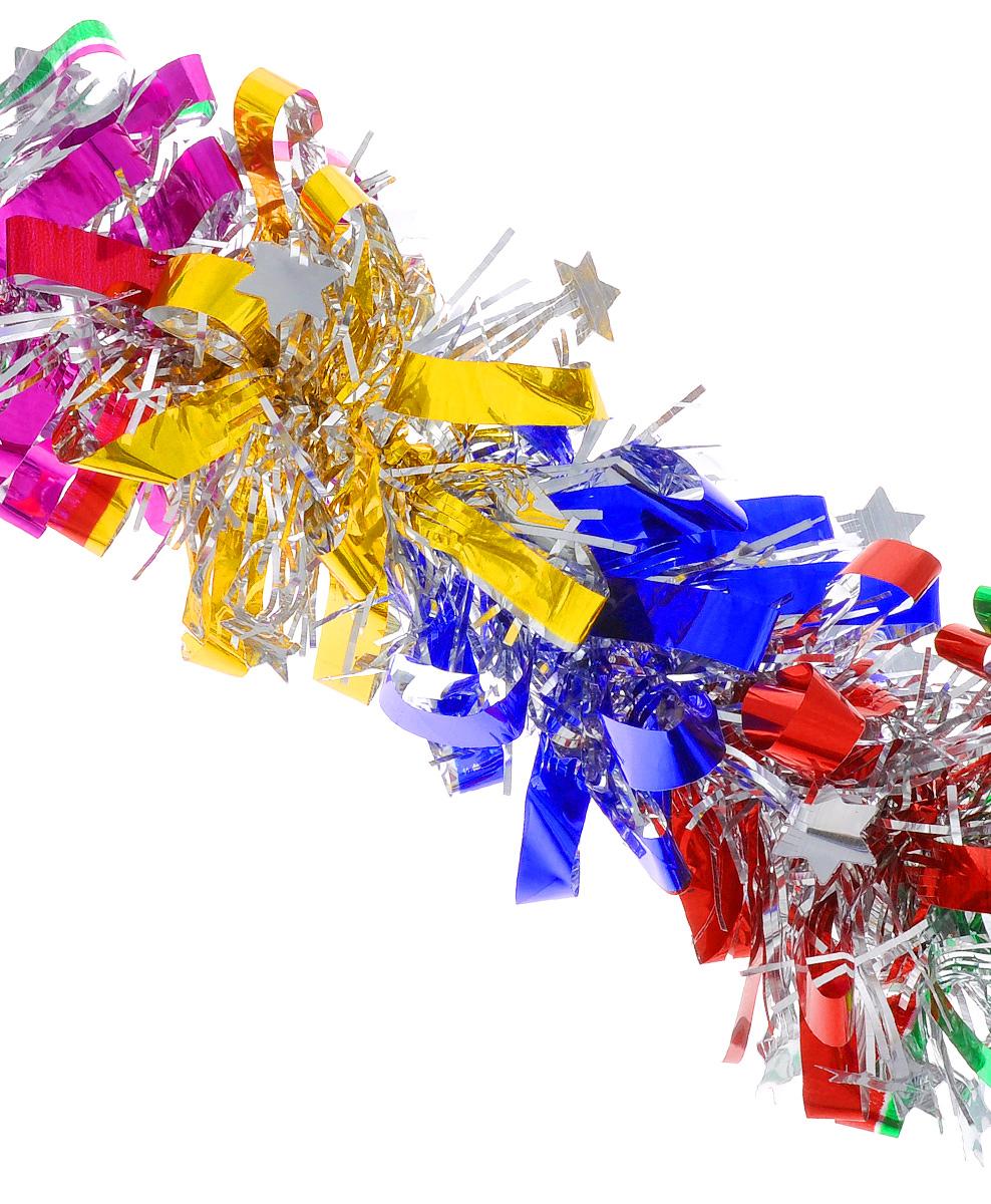 """Новогодняя мишура EuroHouse """"Звездочки"""", выполненная из ПЭТ (полиэтилентерефталата),  поможет вам украсить свой дом к предстоящим праздникам. А новогодняя елка с таким  украшением станет еще наряднее. Мишура армирована, то есть имеет проволоку внутри и  способна сохранять придаваемую ей форму.  Новогодней мишурой можно украсить все, что угодно - елку, квартиру, дачу, офис - как внутри,  так и снаружи. Можно сложить новогодние поздравления, буквы и цифры, мишурой можно  украсить и дополнить гирлянды, можно выделить дверные колонны, оплести дверные проемы."""