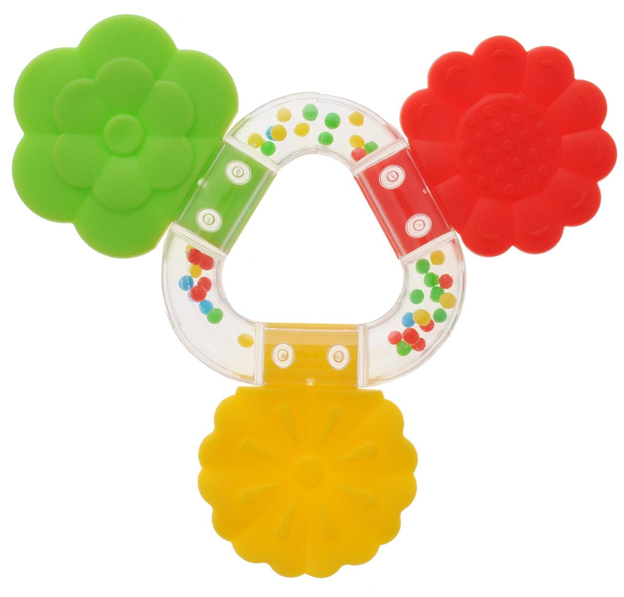 Stellar Погремушка-прорезыватель Букетик цвет желтый красный зеленый развивающая игрушка stellar веселый молоточек цвет зеленый желтый голубой